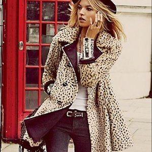 Free People cheetah print faux fur swing coat